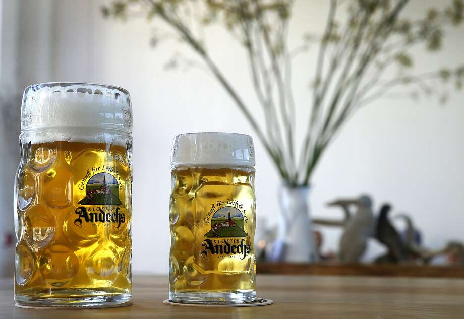 A liter of the Andechs Vollbier Hell and a half-liter of Rothaus Pilsner are two of the beers on offer at Radhaus. Photo: Paul Chinn / The Chronicle