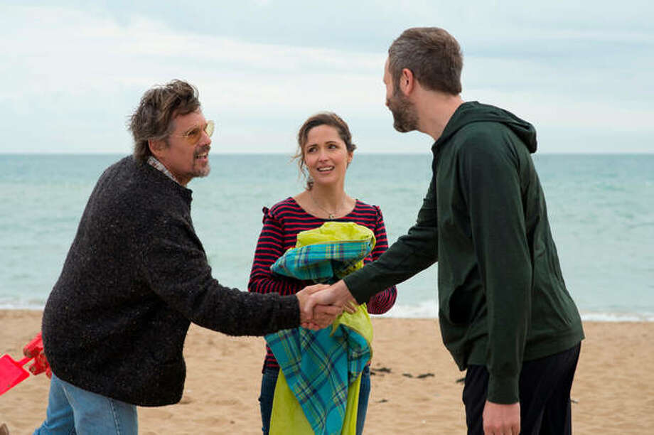 "This image released by Lionsgate and Roadside Attractions shows Ethan Hawke, from left, Rose Byrne and Chris O'Dowd in a scene from ""Juliet, Naked."" Photo: Alex Bailey/Lionsgate And Roadside Attractions Via AP"