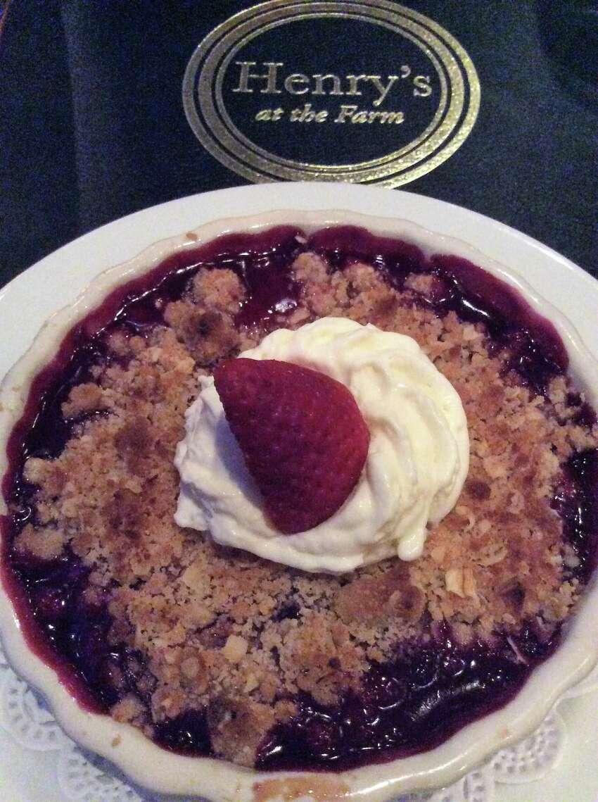 Sour Cherry Blueberry Crisp, dessert at Henry's at the Farm.