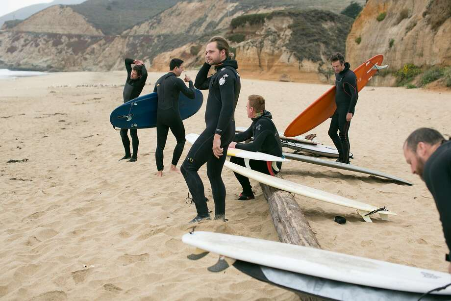 Food-world friends and chefs from the Bay Area gather to surf at Montara State Beach in Montara. Photo: Brian Feulner / Special To The Chronicle