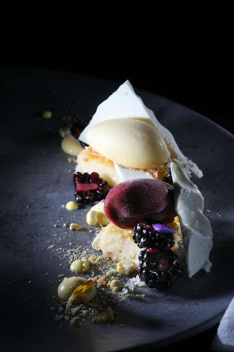 Coconut-corn basbousa with sweet corn and blackberry at Michael Mina. Photo: Lea Suzuki / The Chronicle