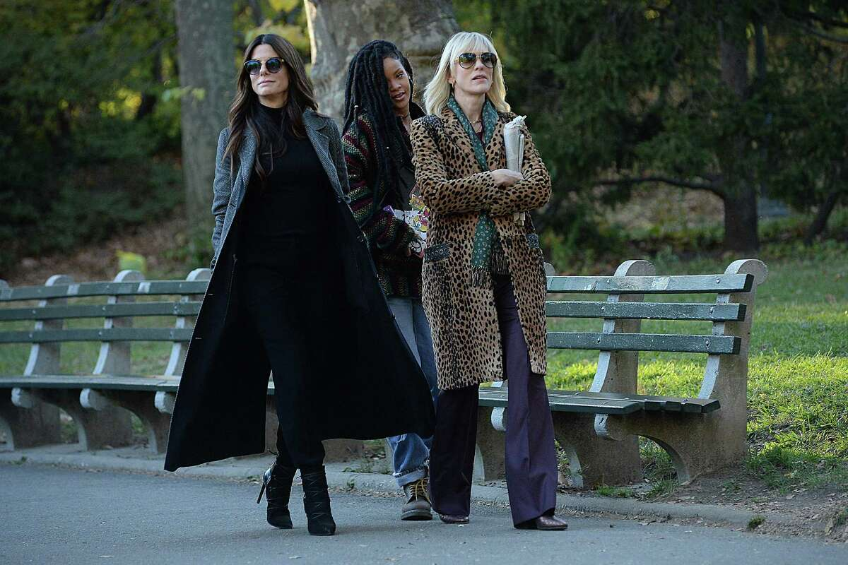 Up to no good and looking good doing it: Sandra Bullock (left), Rihanna and Cate Blanchett in