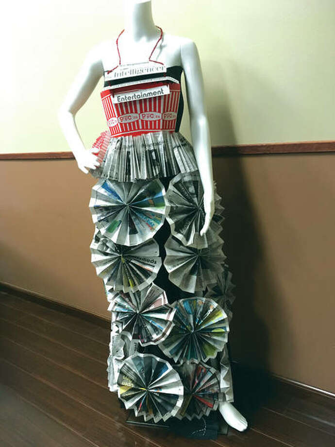 This dress has been made entirely from copies of the Edwardsville Intelligencer. Photo: For The Telegraph