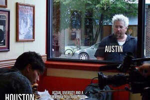 HOUSTON VS. TEXAS: Memes perfectly describe how much Houstonians love Houston    The differences in cultural diversity between Houston and Austin have been brought into the spotlight with this viral Guy Fieri meme.    >> See other memes that show how much Houstonians love the Bayou City.