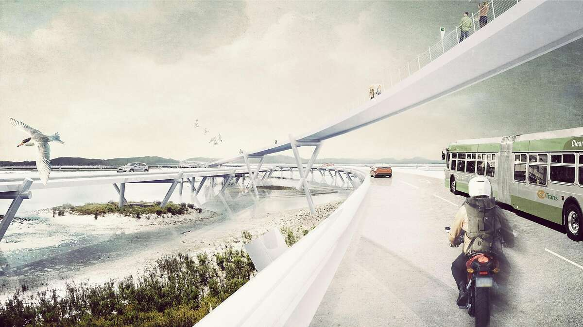 """An elevated roadway and trails in place of the current Route 37 along San Pablo Bay are part of the """"Grand Bayway"""" conceptual proposal from Common Ground for the Resilient by Design Bay Area Challenge"""