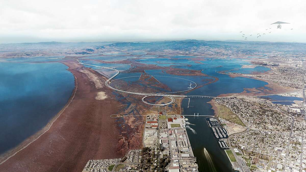 """An elevated roadway and elaborate trails along the edge of San Pablo Bay are part of he """"Grand Bayway"""" conceptual vision done by the multi-disciplinary Common Ground team for Resilient By Design Bay Area Bay Area Challenge. This would replace the current Route 37."""