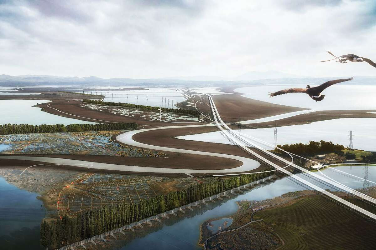 """An elevated roadway and trails along the edge of San Pablo Bay are part of he """"Grand Bayway"""" conceptual vision done by the multi-disciplinary Common Ground team for Resilient By Design Bay Area Bay Area Challenge. This aerial rendering includes a post-restoration landscape. with would replace the current Route 37."""