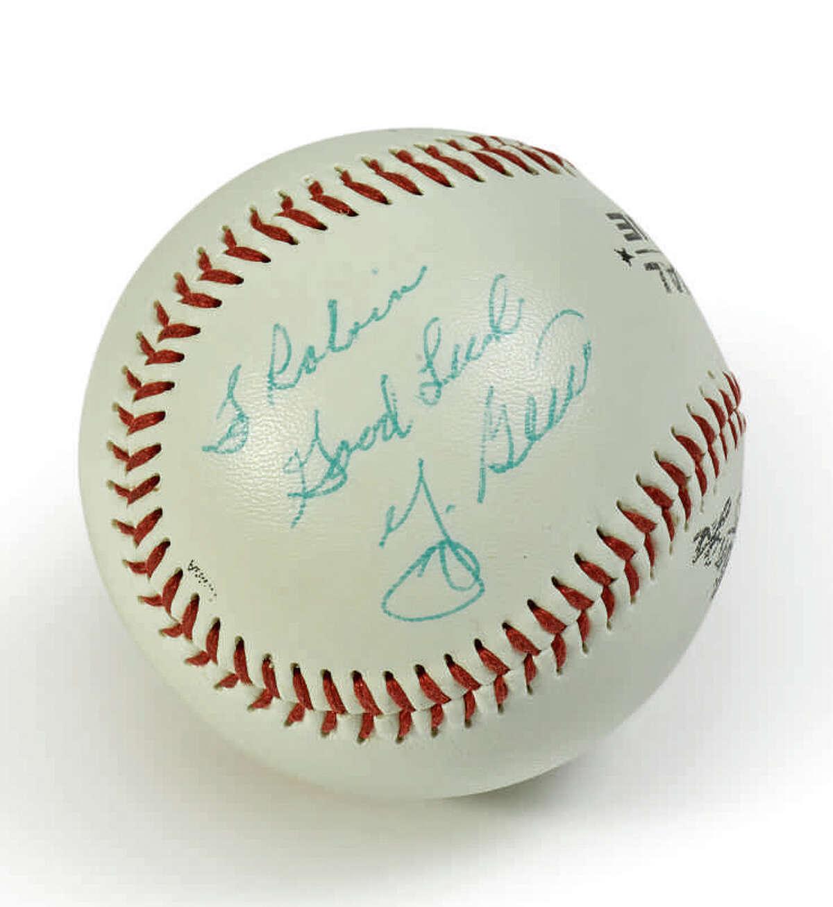 Description: Yogi Berra Baseball Official Rawlings League ball in Lucite display cube Signed