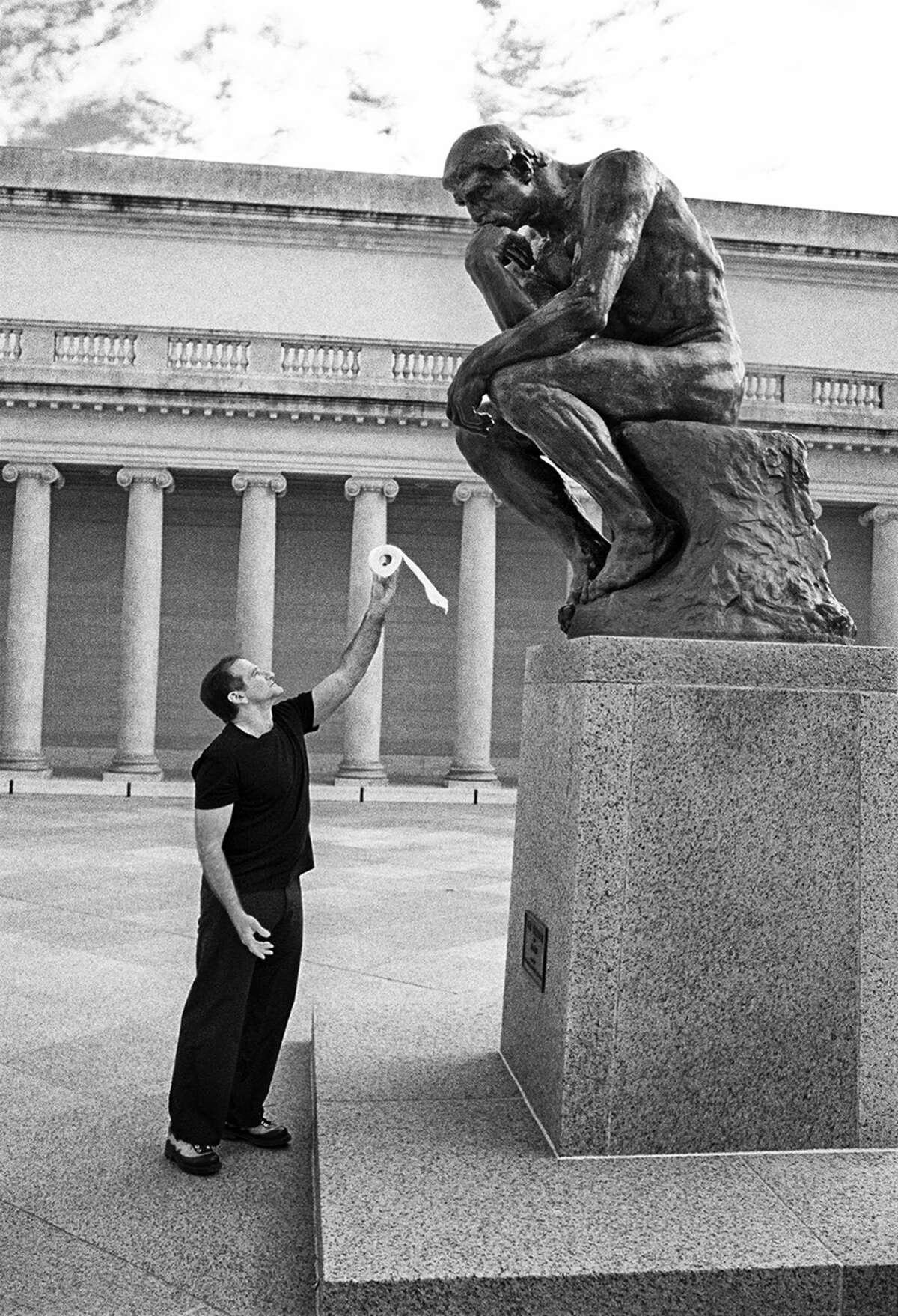 Description: Arthur Grace Untitled (Robin Williams with Rodin's Thinker at the Legion of Honor, San Francisco) Black and white photograph 24 x 36 in.; 61 x 91.5 cm Estimate $1,000-$2,000 © Arthur Grace