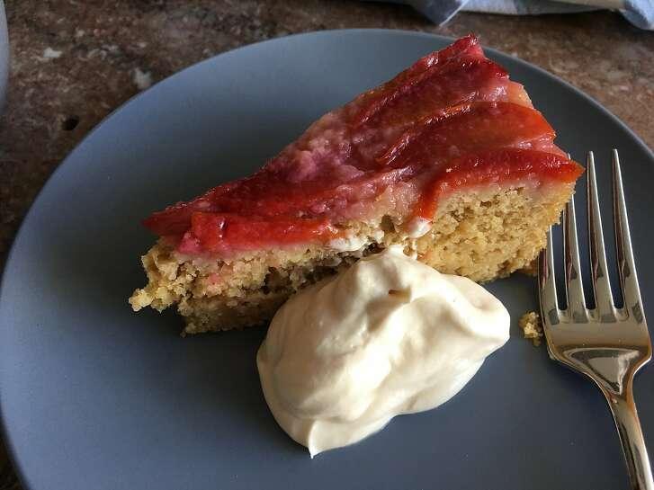 Batter Bakery's Plum Mesquite Upside-Down Cake With Maple Mascarpone.