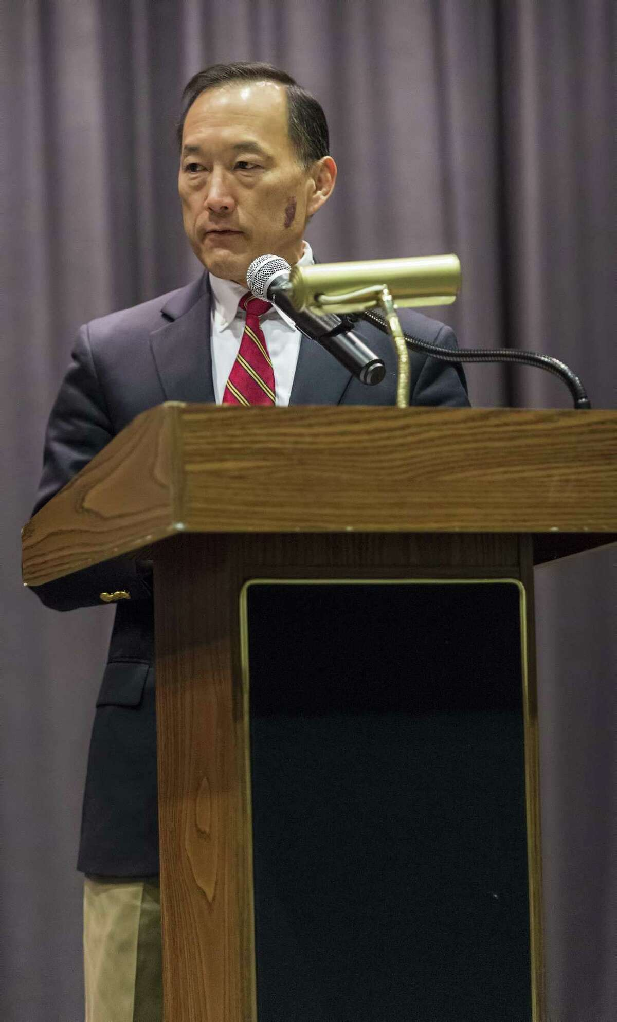 Earl Kim, Stamford superintendent of schools speaks to an audience of Academy of Information Technology & Engineeringstudents during a walkout to honor the victims of the Parkland school shooting last month. The students walked over to the Rippowam Middle School audiorium where several student spoke to their classmates and teachers. Stamford, CT, Wednesday, March 14, 2018.