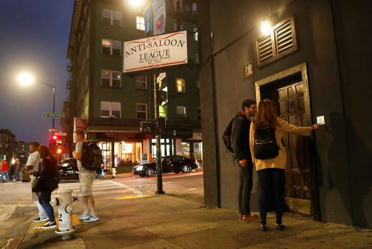 Nate Polland and Carly MacLeod wait to enter Bourbon & Branch in San Francisco, Calif. on Thursday, September 6, 2018.