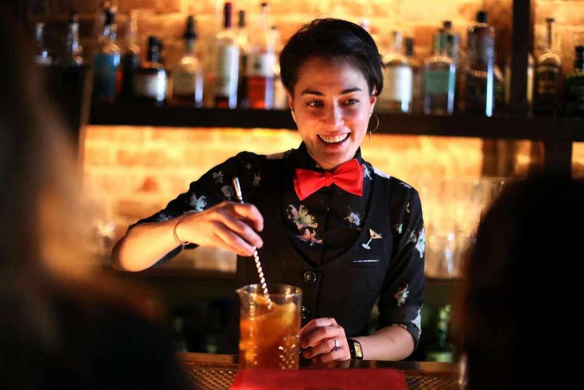 Bourbon & Branch general manager DiDi Saiki makes a drink in San Francisco, Calif. on Thursday, September 6, 2018.