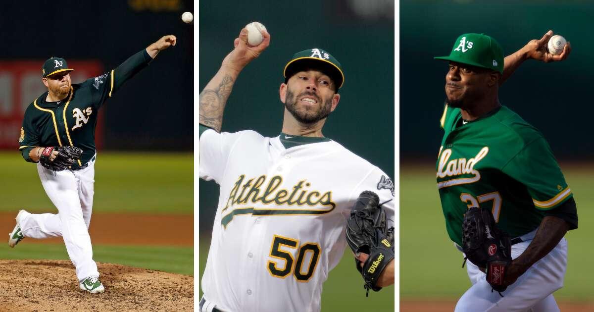 Oakland A's pitchers Mike Fiers, Edwin Jackson, andBrett Anderson