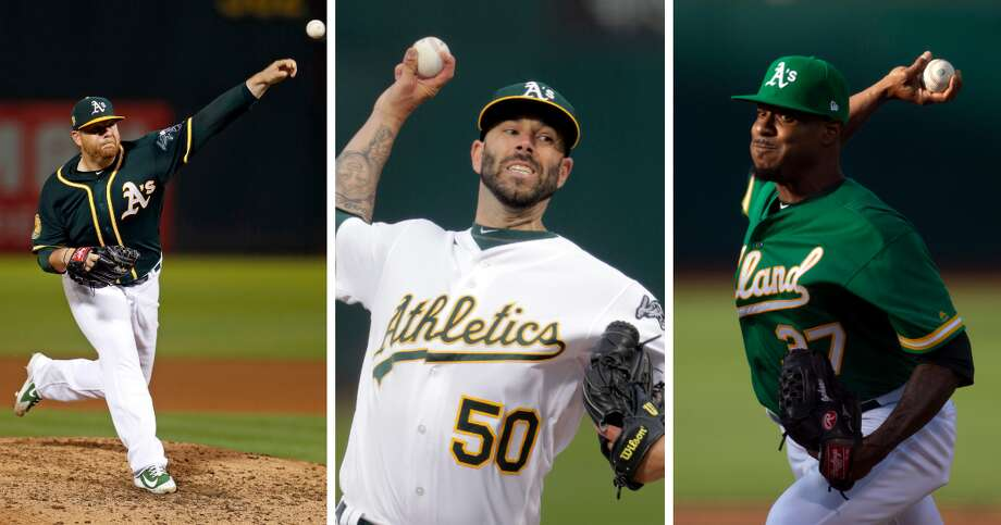 Oakland A's pitchers Mike Fiers, Edwin Jackson, and Brett Anderson