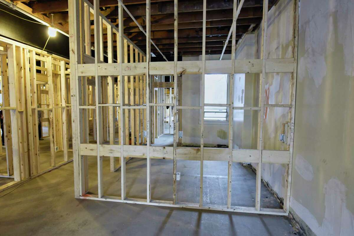 A view of the space being turned into apartments at 144 Clinton Street, seen here on Tuesday, Sept. 11, 2018, in Schenectady, N.Y. The ground floor will house the Clinton Street Mercantile, a artisans retail incubator, and the second and third floors will be apartments. (Paul Buckowski/Times Union)