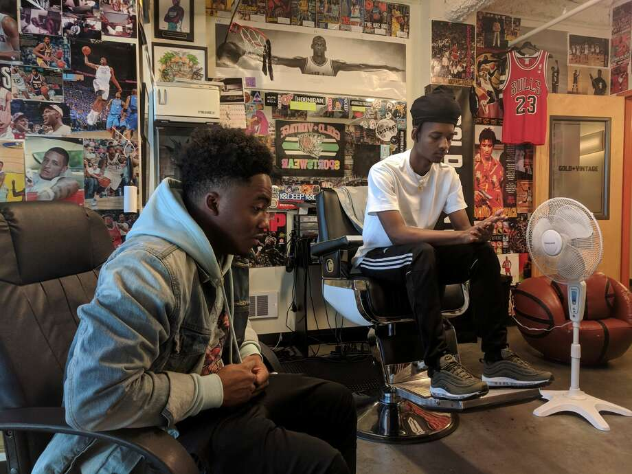 Shakir Robinson, left, and brother Amir Muhammad, were both close friends with Trevon McKoy, who was fatally shot in the head April 1, 2018 at Seattle Center after a rap performance at The Vera Project. Robinson performed as his DJ that night and Muhammad expected to go to school with him the next day at Bellevue College. Photo: Lynsi Burton/SeattlePI