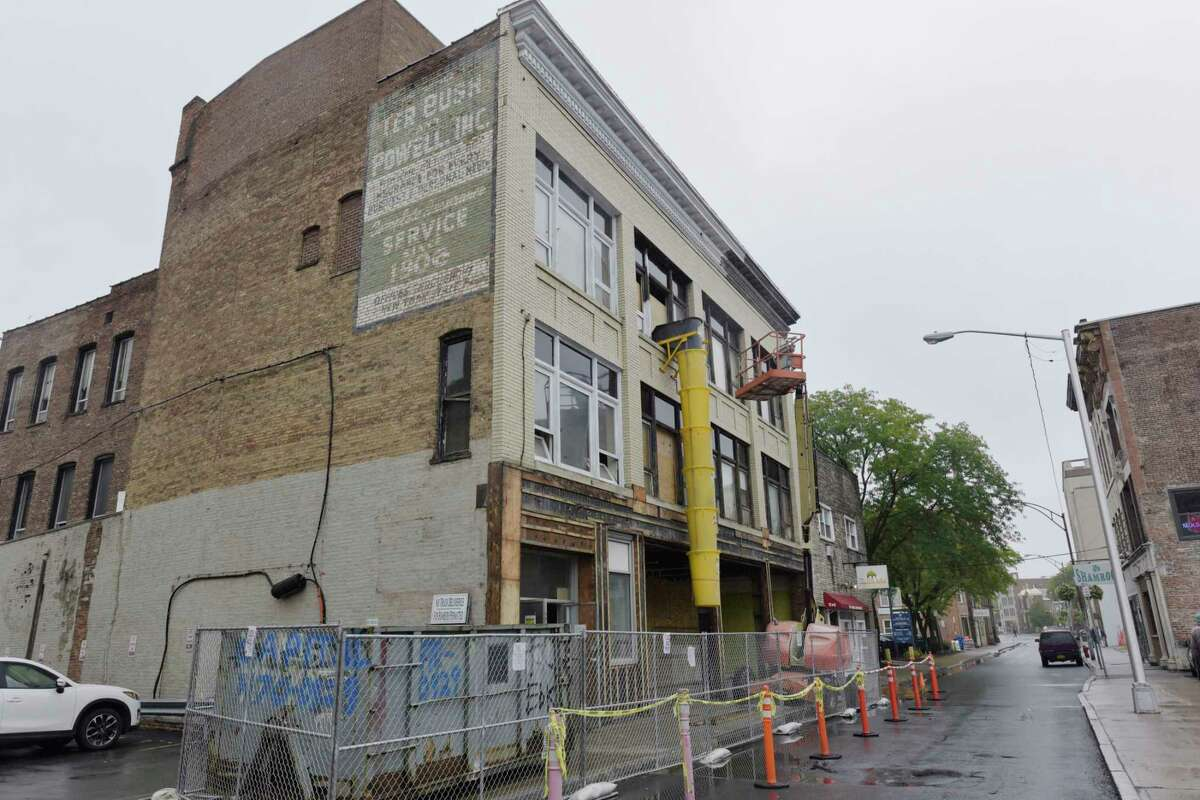 A view of 144 Clinton Street, seen here on Tuesday, Sept. 11, 2018, in Schenectady, N.Y. The ground floor of the building will house the Clinton Street Mercantile, a artisans retail incubator, and the second and third floors will be apartments. (Paul Buckowski/Times Union)
