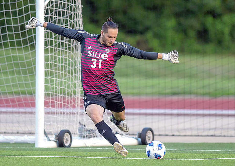 SIUE sophomore goalkeeper Noah Heim has been announced as the Mid-American Conference men's soccer Player of the Week. Photo: SIUE Athletics