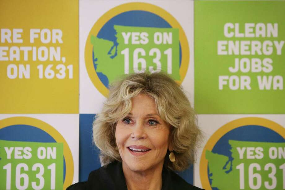 Actress and activist Jane Fonda attends a campaigning event for Initiatives 1639 and 1631, which address gun safety and clean energy respectively, in the University District, Tuesday, September 11, 2018, before going out canvassing in the area. Photo: GENNA MARTIN, SEATTLEPI.COM / SEATTLEPI.COM