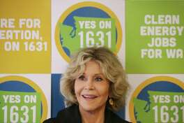 Actress and activist Jane Fonda attends a campaigning event for Initiatives 1639 and 1631, which address gun safety and clean energy respectively, in the University District, Tuesday, September 11, 2018, before going out canvassing in the area.