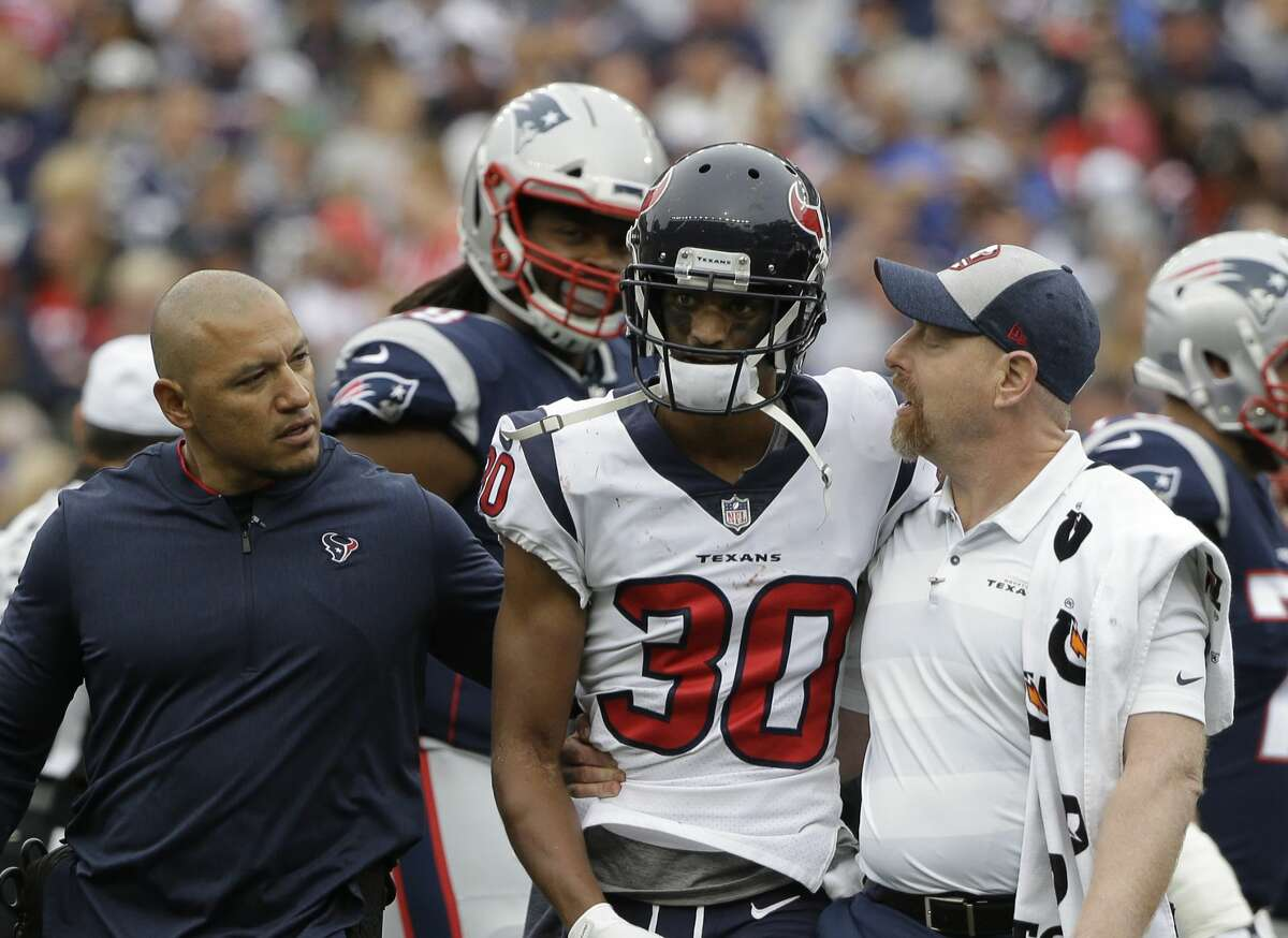 PHOTOS: Texans vs. Patriots Houston Texans cornerback Kevin Johnson (30) is assisted as he steps off the field during the second half of an NFL football game against the New England Patriots, Sunday, Sept. 9, 2018, in Foxborough, Mass. (AP Photo/Steven Senne) >>>See photos from the Texans' game against the Patriots in the NFL season opener on Sunday, Sept. 9, 2018 ...