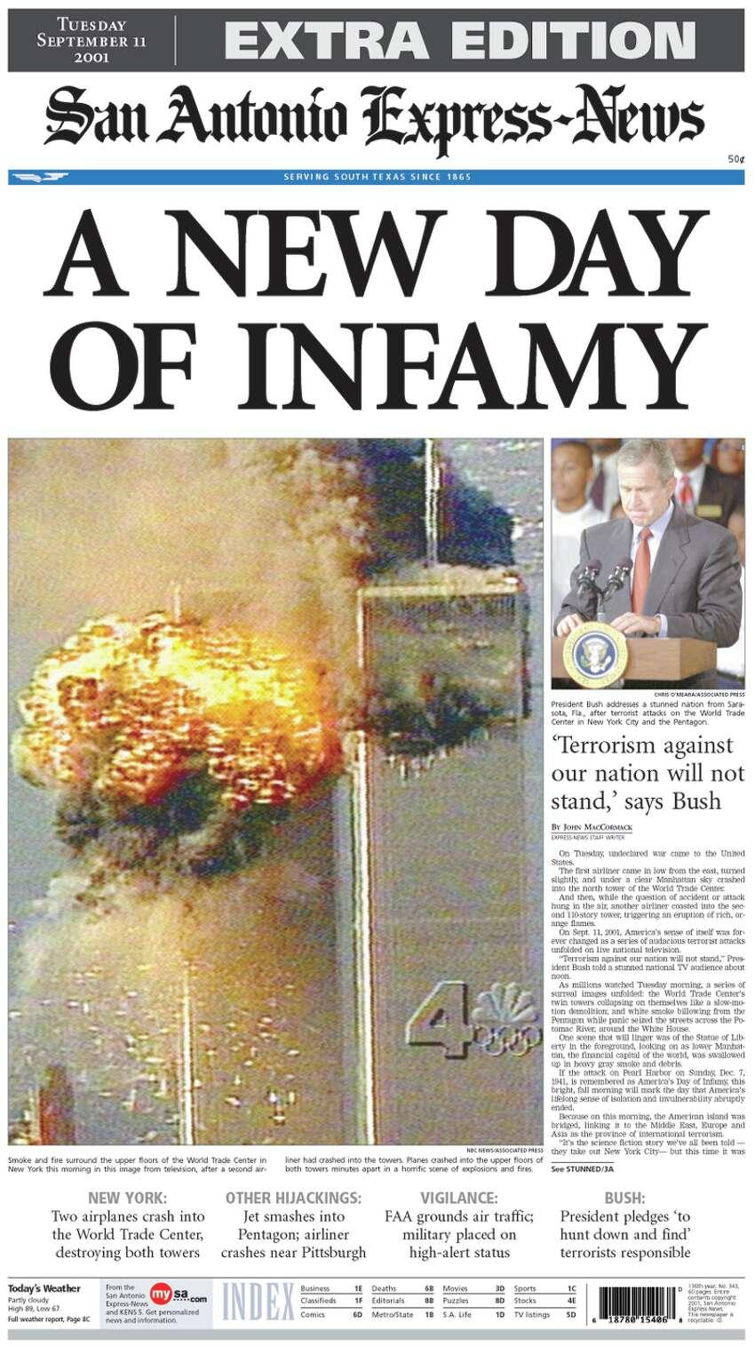 San Antonio Express-News September 11, 2001 Extra Edition front page. Headline: