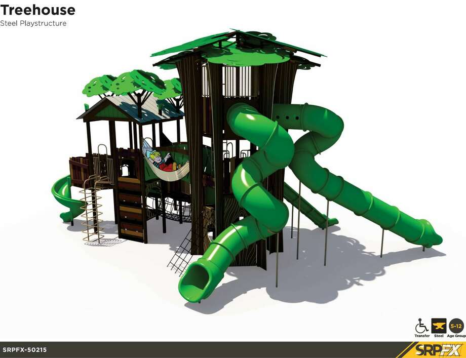 """City officials put on display structures representing the four themes of Dennis the Menace Park. Those themes are """"tree house,"""" """"baseball,"""" """"airplane"""" and """"old town."""" The themes are a salute to the park's history and the community. Photo: Courtesy Photo"""