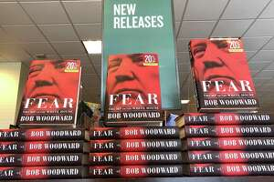 """The newly released book """"Fear"""" by Bob Woodward is displayed at a Barnes and Noble bookstore on Sept. 11, 2018."""