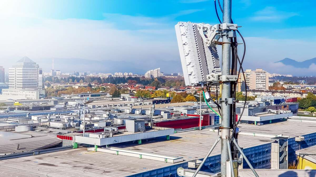 A file photo of a large 5G radio network antenna base station. Mill Valley recently passed an ordinance to block 5G transmitters in residential areas.