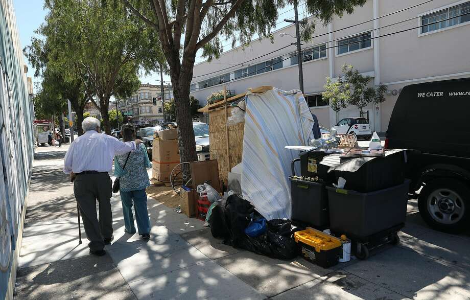 A homeless box home 16th at Shotwell streets in San Francisco last month. Photo: Liz Hafalia / The Chronicle