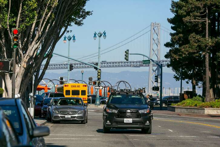 A Zoox autonomous car turns off of the Embarcadero after driving a route on Friday, Sept. 7, 2018 in San Francisco, Calif.