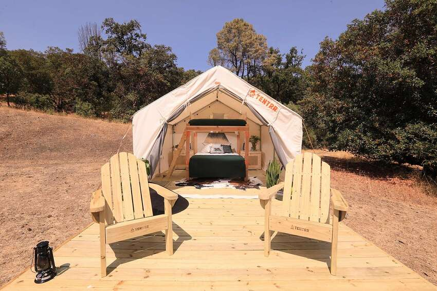 Sonoma Sanctuary on Pine Mountain is a property listed on glamping booking app Tentrr. The remote private property overlooks the Russian River Valley.