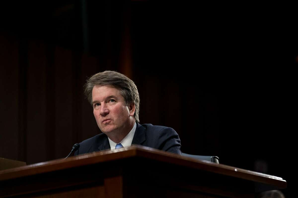 Judge Brett Kavanaugh, President Donald Trump's Supreme Court nominee, testifies on Capitol Hill in Washington, Sept. 6, 2018. Interest groups are spending hundreds of thousands of dollars on advertising to target two undecided Republican senators who voice support for abortion rights: Susan Collins of Maine and. Lisa Murkowski of Alaska. (Erin Schaff/The New York Times)
