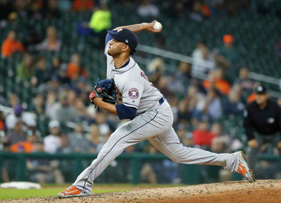 Houston Astros relief pitcher Hector Rondon throws in the seventh inning of a baseball game against the Detroit Tigers in Detroit, Tuesday, Sept. 11, 2018. (AP Photo/Paul Sancya) Photo: Paul Sancya, Associated Press / Copyright 2018 The Associated Press. All rights reserved