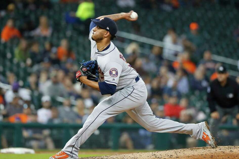Houston Astros relief pitcher Hector Rondon throws in the seventh inning of a baseball game against the Detroit Tigers in Detroit, Tuesday, Sept. 11, 2018. (AP Photo/Paul Sancya)
