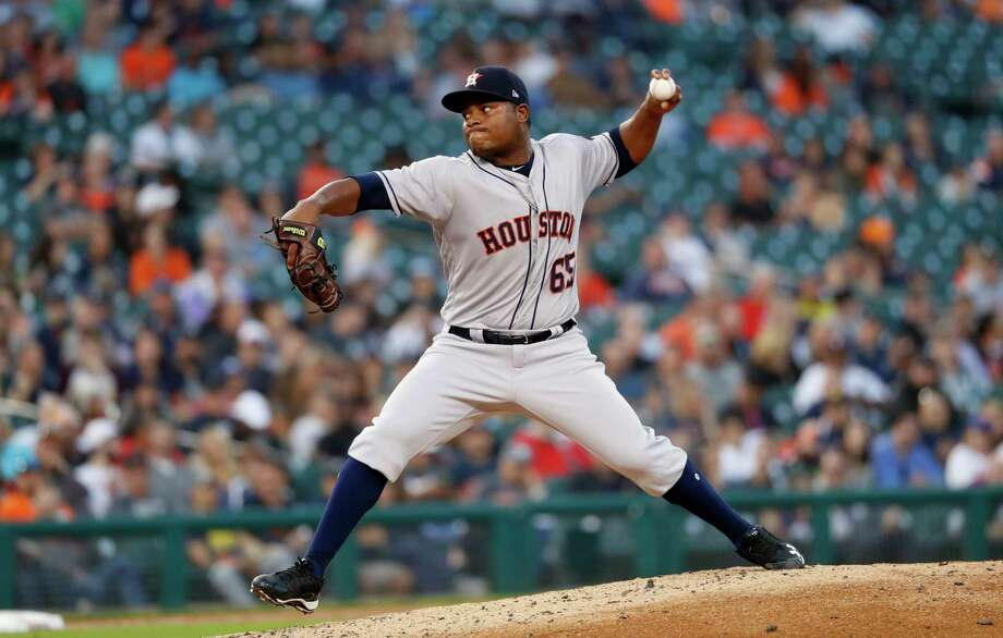 Houston Astros pitcher Framber Valdez throws against the Detroit Tigers in the third inning of a baseball game against the Detroit Tigers in Detroit, Tuesday, Sept. 11, 2018. (AP Photo/Paul Sancya) Photo: Paul Sancya, Associated Press / Copyright 2018 The Associated Press. All rights reserved