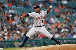 Houston Astros pitcher Framber Valdez throws against the Detroit Tigers in the third inning of a baseball game against the Detroit Tigers in Detroit, Tuesday, Sept. 11, 2018. (AP Photo/Paul Sancya)