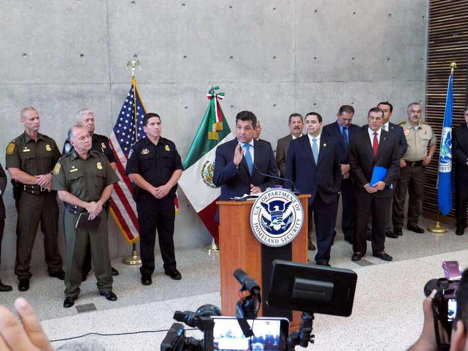 Tamaulipas Governor, Francisco Javier García Cabeza de Vaca and U.S. Congressman Henry Cuellar were among the officials who participated in a press conference Monday, September 10, 2018 at the Juarez-Lincoln Bridge Port of Entry, to announce the expansion of the Campaña de Seguridad y Prosperidad to Laredo. Photo: Cuate Santos /Laredo Morning Times / Laredo Morning Times