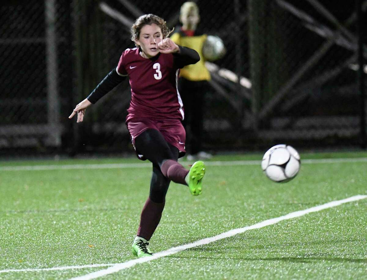 Stillwater's Brooke Pickett (3) takes a shot against Schoharie during a girls Section II Class C high school soccer final game in Stillwater, N.Y., Wednesday, Nov. 1, 2017. Stillwater won the game 4-2.(Hans Pennink / Special to the Times Union) ORG XMIT: HP113