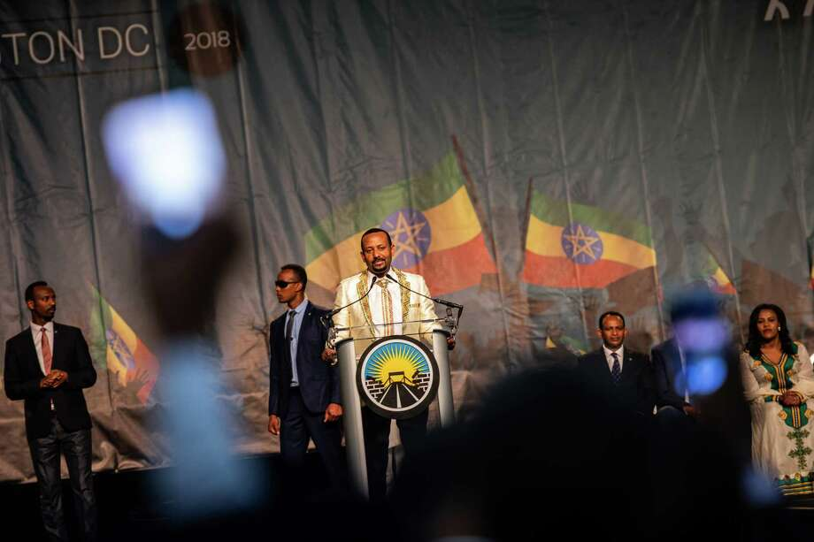 Ethiopian Prime Minister Abiy Ahmed speaks at the Walter E. Washington Convention Center in Washington on July 28, 2018. Photo: Washington Post Photo By Salwan Georges. / The Washington Post
