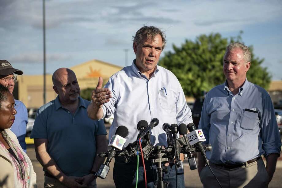 Sen. Jeff Merkley, D-Ore. (second from right), speaks to members of the media outside of the Southwest Key-Casa Padre Facility, formerly a Walmart store, in Brownsville, Texas, on June 17, 2018. >>>See FEMA rumors, debunked. Photo: Bloomberg Photo By Sergio Flores. / © 2018 Bloomberg Finance LP