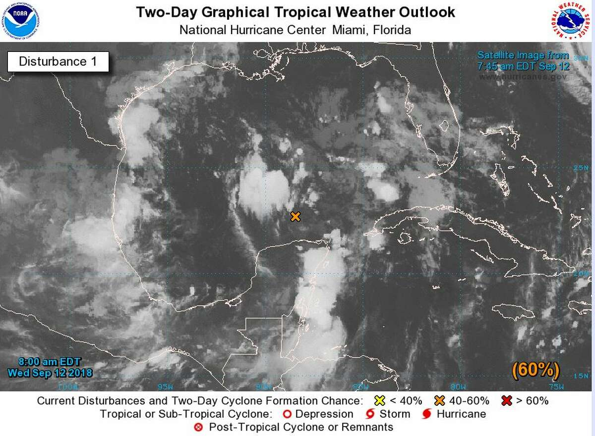 PHOTOS: An eye on the Gulf of Mexico  Satellite images on Wednesday showed where Invest 95L was stationed west of the Yucatan Peninsula earlier in the week. (9/12/18) >>See more photos of this developing tropical system...