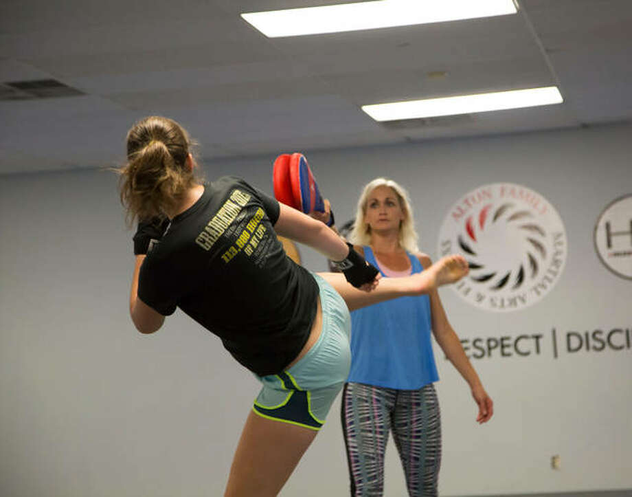 Alton Family Martial Arts & Fitness instructors will lead self defense courses at Lewis and Clark in September in honor of National Campus Safety Awareness Month. Photo by Jan Dona, L&C Media Services. Photo: For The Telegraph