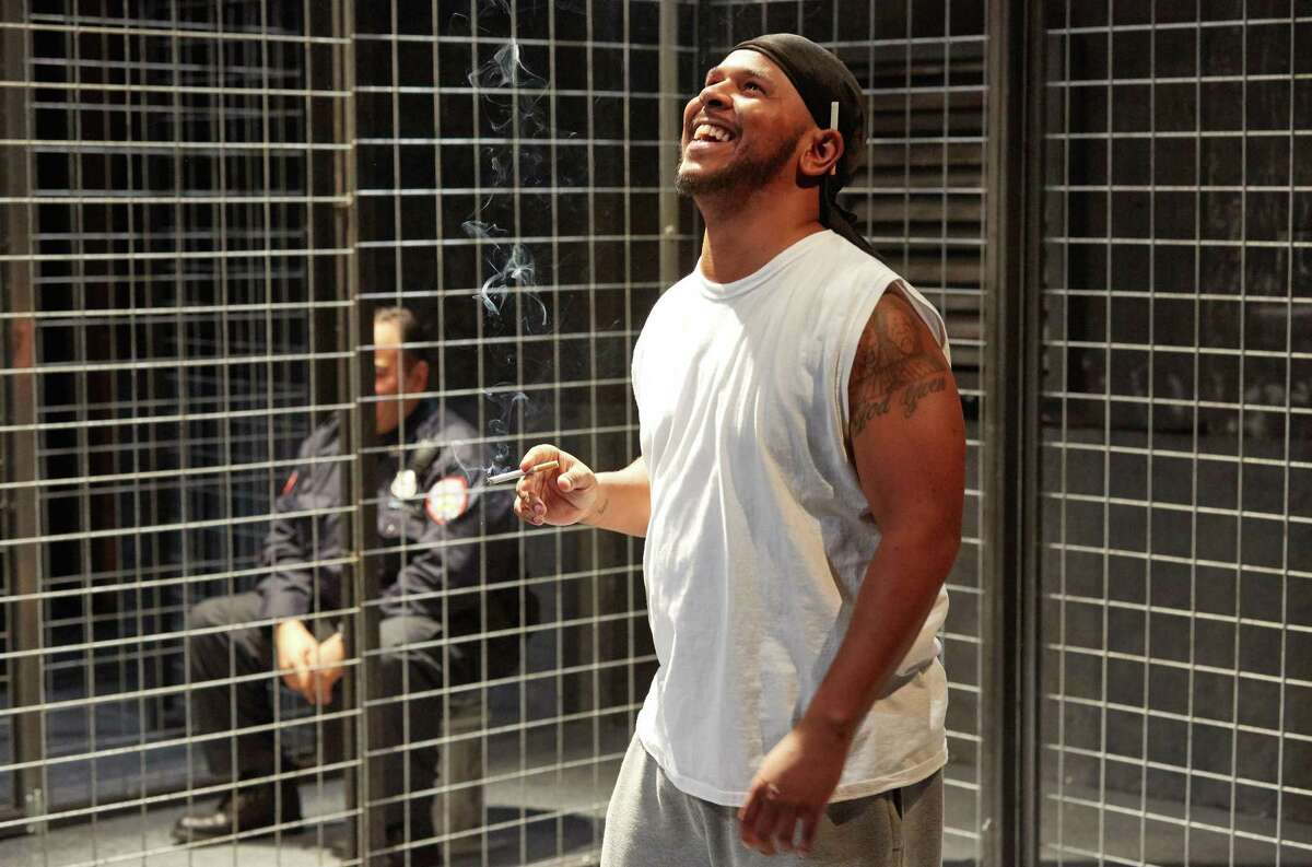 """Joe Palmore in """"Jesus Hopped the 'A' Train,"""" presented by 4th Wall Theatre."""
