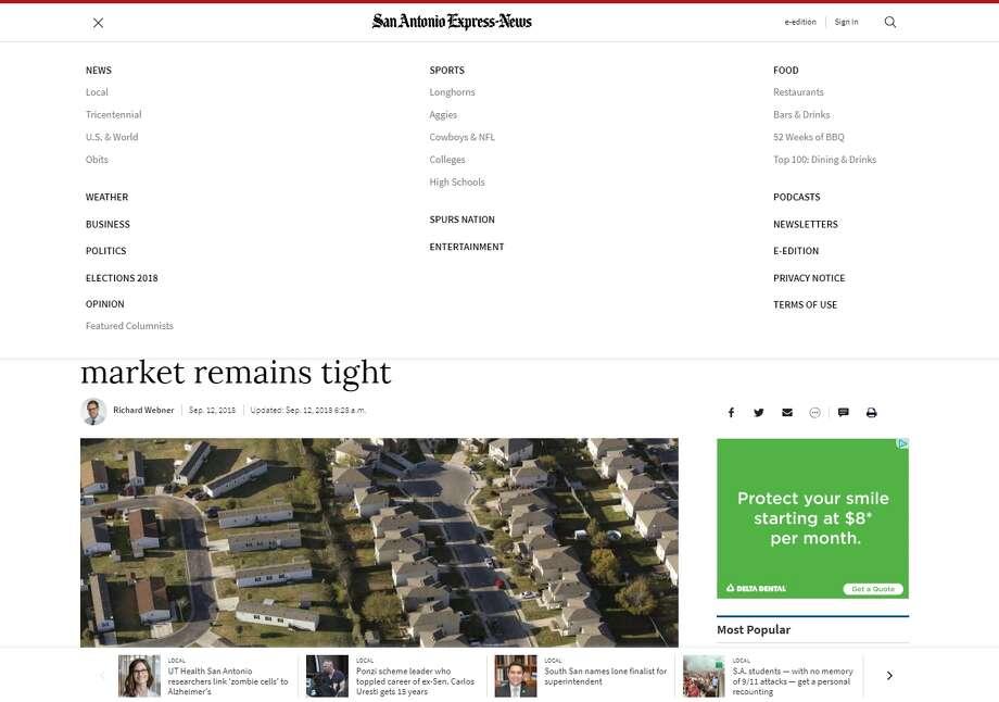 A new ExpressNews.com menu. Photo: Screengrab