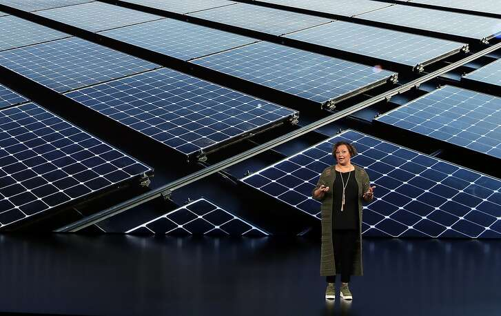 Lisa Jackson, Vice President of Environment, Policy, and Social Initiatives speaks at the Steve Jobs Theater during an event to announce new products Wednesday, Sept. 12, 2018, in Cupertino, Calif. (AP Photo/Marcio Jose Sanchez)
