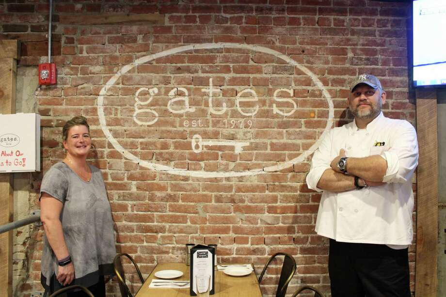 From left, Sheila McGinnity and Nathan Kramer, new manager and chef, respectively, at Gates Restaurant. Photo: Humberto J. Rocha / Hearst Connecticut Media / New Canaan News
