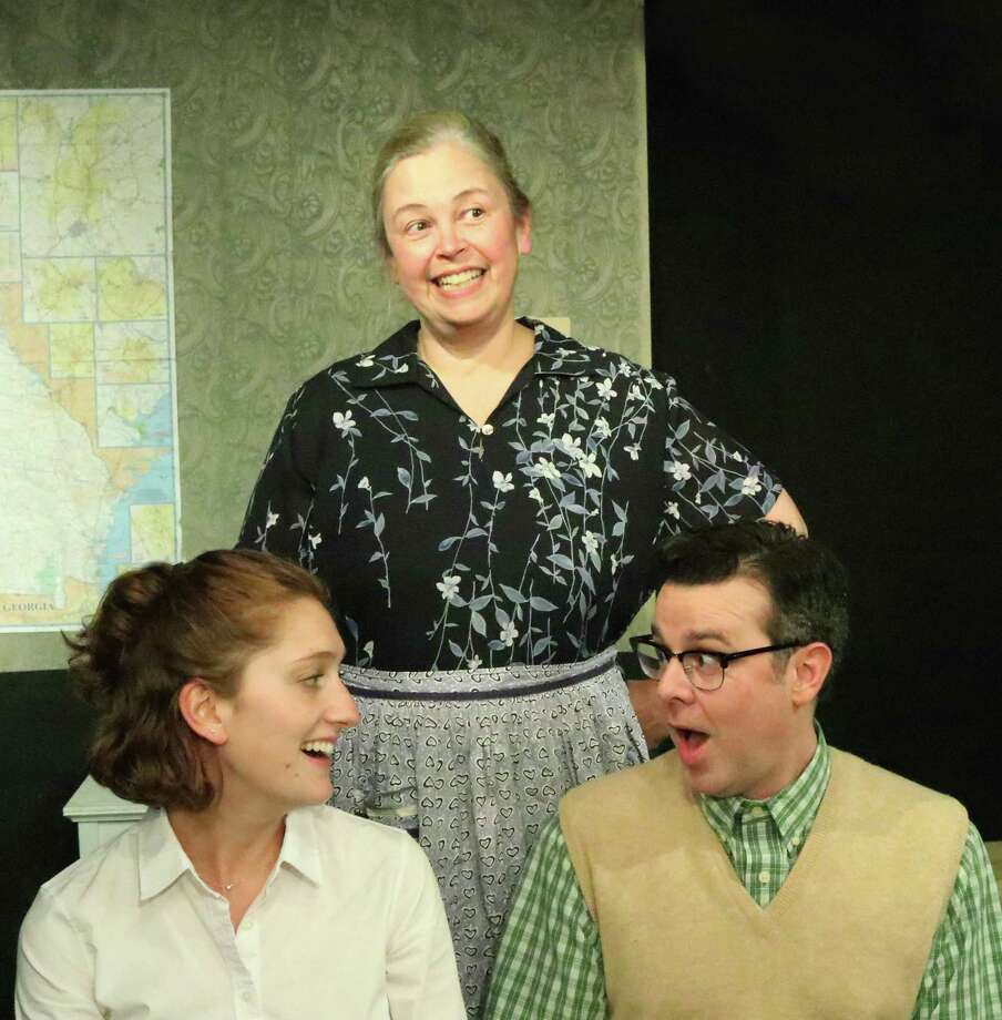"Rehearsing a scene for ""The Foreigner"" at Curtain Call in Stamford are Sophie Tiesler, left, Betty McCready and Grady Dennis. The show is at the Dressing Room Theatre Sept. 20-Oct. 7. Photo: Curtain Call / Contributed Photo / Connecticut Post Contributed"