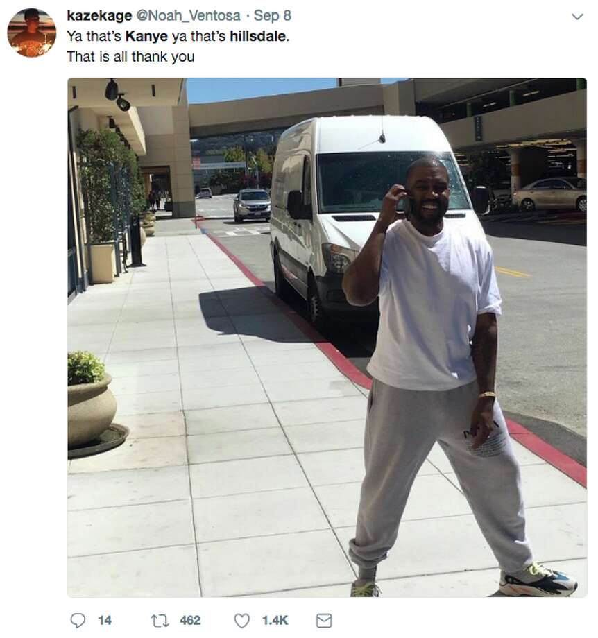 On Sept. 8, fans spotted Kanye West at the Hillsdale Mall in San Mateo. One woman claimed she saw him purchasing a pair of flip-flops. Photo: Twitter Screen Grab